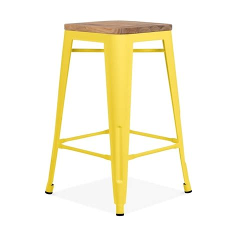 wood and metal stool uk yellow with wood seat 65cm tolix style stool cult uk