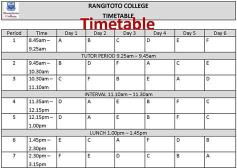 timetable template rangitoto college