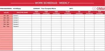 work schedule template weekly employees images
