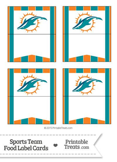 thank you card miami dolphins template dolphins food label buffet cards printable treats
