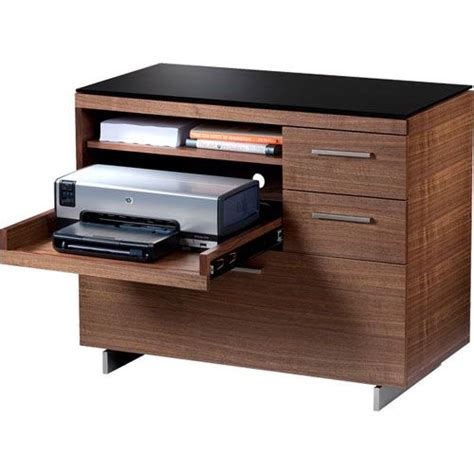 desk with drawers and printer shelf sequel 6017 multifunction storage cabinet in walnut with