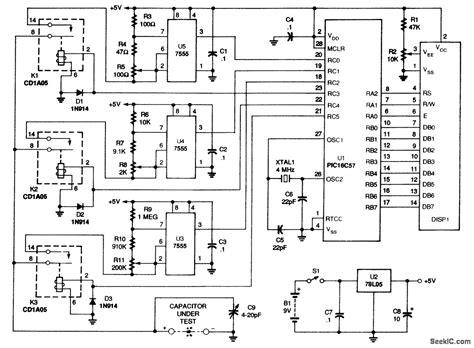 capacitor meter circuit diagram auto ranging capacitance meter measuring and test circuit circuit diagram seekic