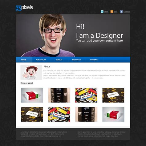 Psd Of The Day Simple Website Template 92 Pixels Easy To Build Websites From Templates