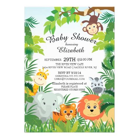 Safari Baby Shower Invitations by Jungle Safari Baby Shower Invitations Zazzle