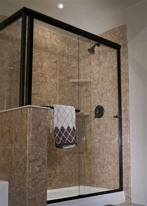 stone bathroom wall panels oil rubbed bronze shower frame with stone wall panels