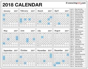Us Holidays 2018 Calendar Printable Calendar 2018 With Holidays Pdf Free Template