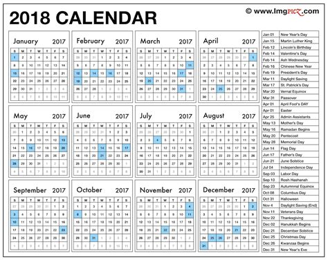 printable calendar 2018 with holidays pdf free template