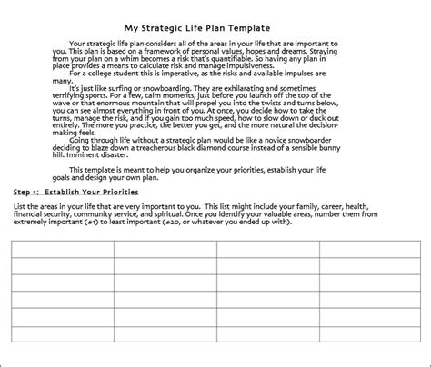 life plan template 4 free word pdf documents download