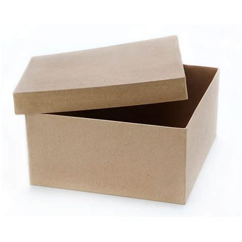 Craft Paper Box - square paper mache box with lid 9 x 9 x 4 inches