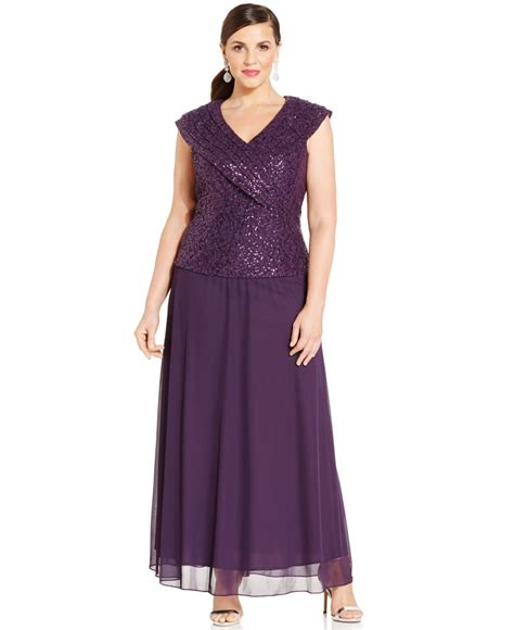 patra dress sleeve beaded sequin patra plus size cap sleeve sequined lace gown in purple lyst