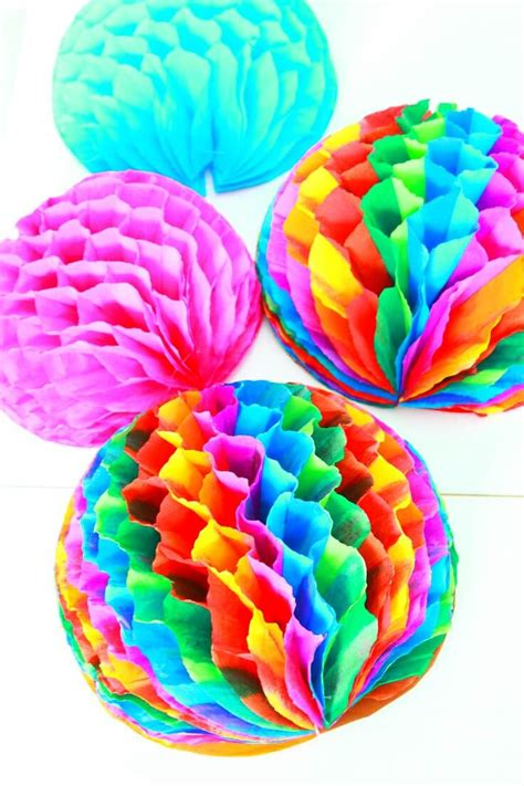 Pom Poms From Crepe Paper - honeycomb pom poms decorations made with crepe paper