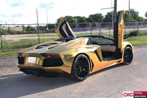 Lamborghini In Gold by Lamborghini Aventador Gold Chrome Wrap