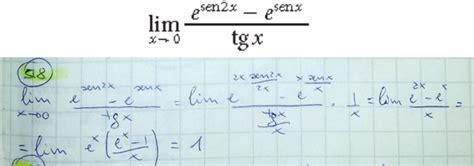 lim x tende a 0 limite per x tende a 0 di e sen2x e senx tgx