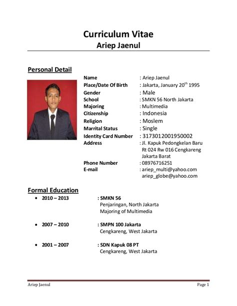 biografi singkat ra kartini dalam bahasa inggris dan terjemahannya biodata jokowi versi bahasa inggris contoh curriculum vitae cv