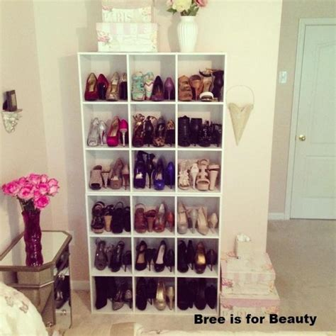 pretty shoe storage in the bedroom using 2 closetmaid 9