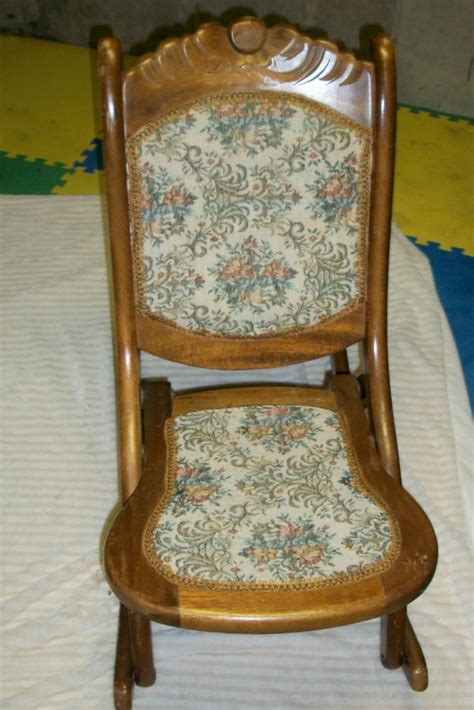 vintage antique folding wooden sewing rocking chair