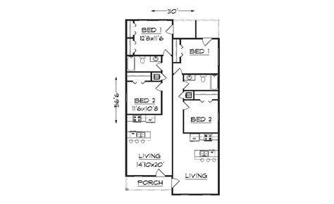 Narrow Lot Duplex Plans by Duplex J1690d Plansource Inc