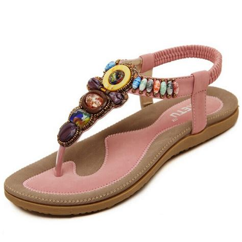 Sandal Wedges Ls08 Hitam 36 size 36 42 2016 bohemian sandals gemstone beaded slippers summer sandals flip