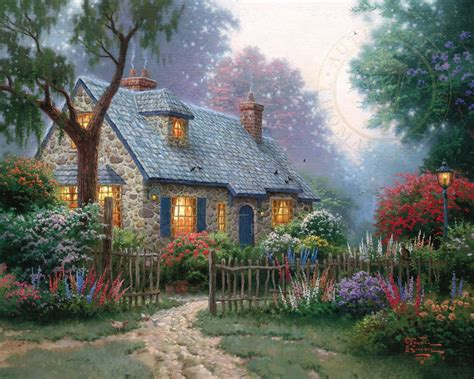 cottage paintings by kinkade foxglove cottage the kinkade company