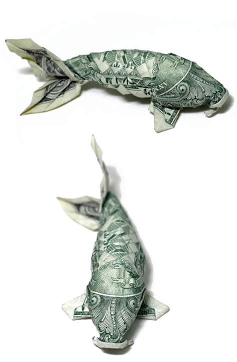 Fish Money Origami - 1 dollar koi fish origamimaker
