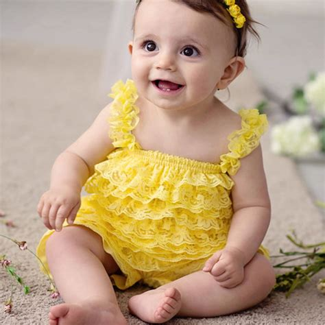 18 02 Romper Snow White Yellow clothing baby yellow lace rompers toddler infant jumpsuits ruffle romper baby