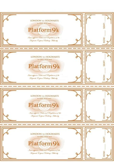 printable train tickets templates free harry potter hogwarts express ticket template plus