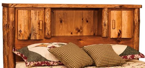 buy  hand crafted american  rustic pine log bed  bookcase headboard  spindle