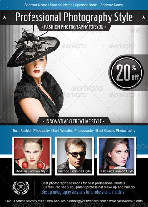 fashion photography psd flyer poster template by