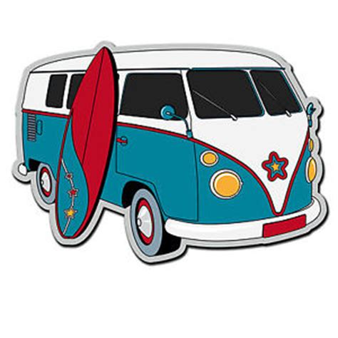 volkswagen van with surfboard clipart 2 x glossy vinyl stickers cer van vw surf surfing