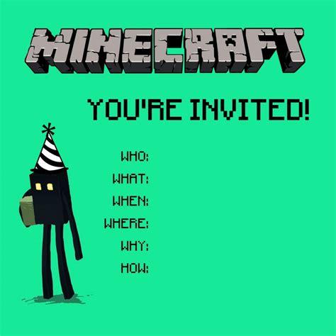 printable minecraft invitation template minecraft birthday party invitation