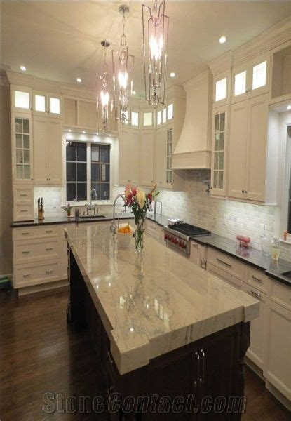 Polished Sea Pearl Quartzite Kitchen Countertop,White