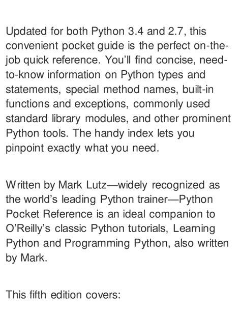 python reference book best python pocket reference python in your pocket pocket