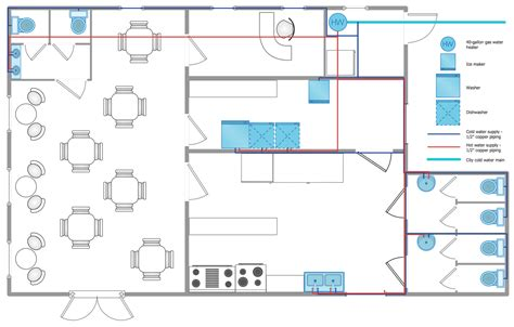 floor plan plumbing layout restaurant water supply drawing pinterest