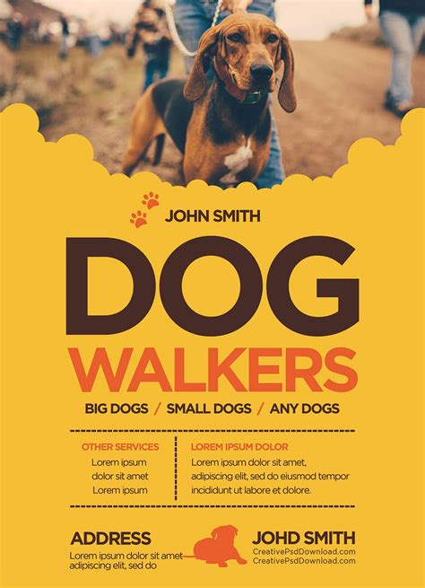 Creative Dog Walkers Flyer Template Walking Flyer Template Free