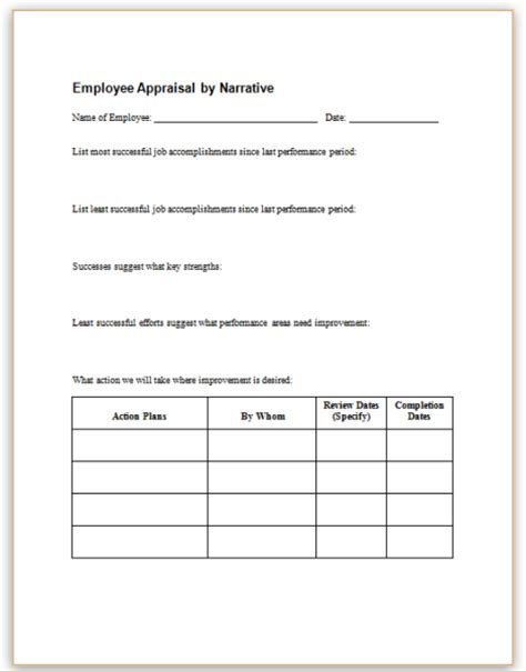 Employee Appraisal Form Sle Staruptalent Com Narrative Performance Review Template
