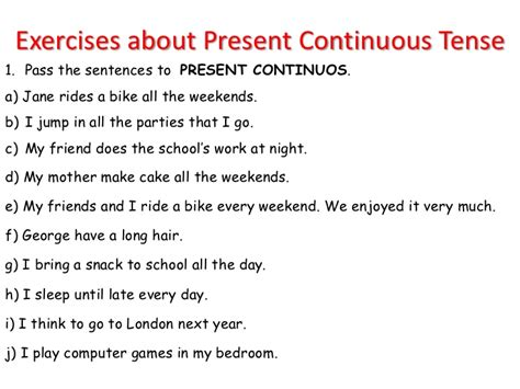 sentence pattern of simple present tense exercises about present continuous tense