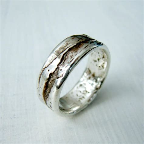 simple sterling silver birch bark or wood grain mountain