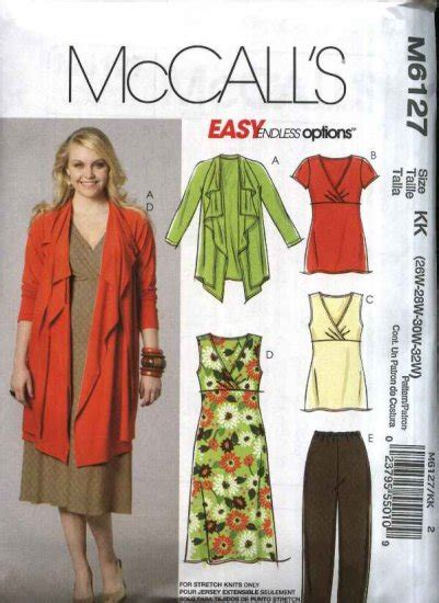 sewing pattern plus size mccall s sewing pattern 6127 m6127 womans plus size 18w