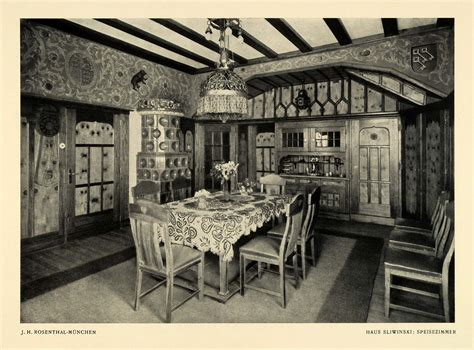 1915 print german sliwinski home dining room interior