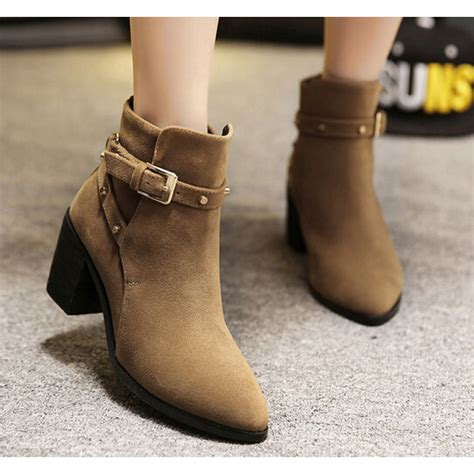 brown suede pointed toe chunky heel buckle ankle boots