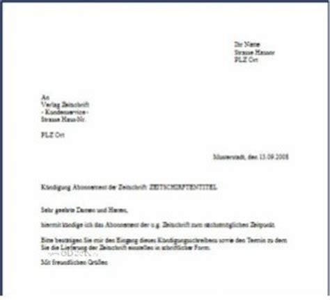 Musterbriefe Schule Musterbrief Zur K 252 Ndigung Eines Zeitschriften Abonnement