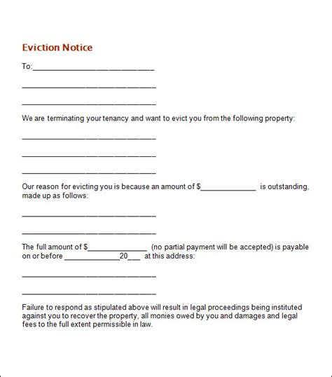 sle eviction notice template 37 free documents in