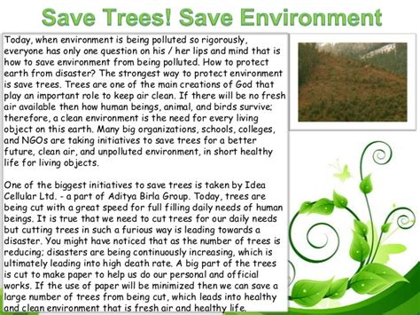 Plant Trees Save Earth Essay by Save Environment Ppt