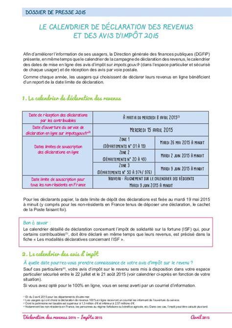 Declaration Is Calendrier D 233 Claration Des Revenus 2014
