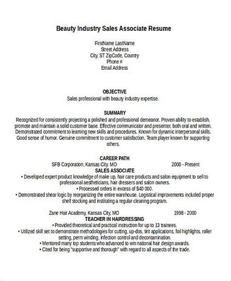 resume sles by industry get the call of with these sales associate