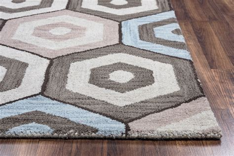 Marianna Fields Concetric Hexagon Wool Area Rug In Grey Blue Grey Brown Area Rug