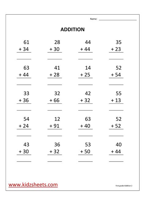Addition Worksheets For 1st Grade by Kidz Worksheets Grade Addition Worksheet2