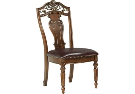Pecan Wood Furniture Dining Room Handly Manor Pecan Grayish Brown Wood Back Side Chair Traditional