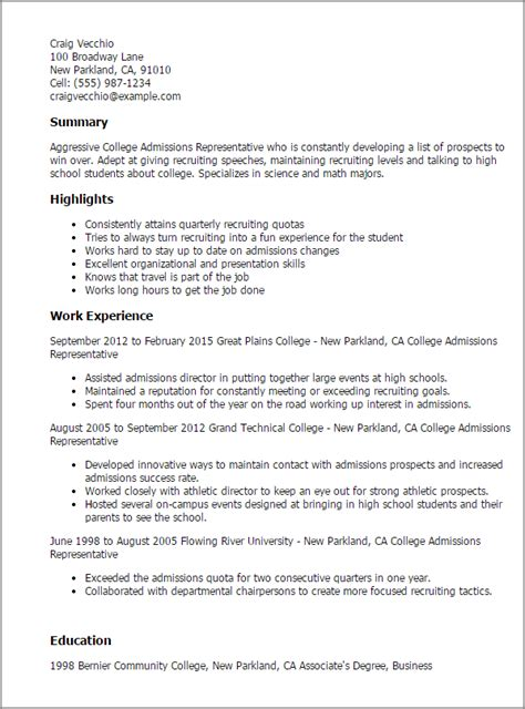 Admissions Representative Cover Letter by Professional College Admissions Representative Templates To Showcase Your Talent Myperfectresume