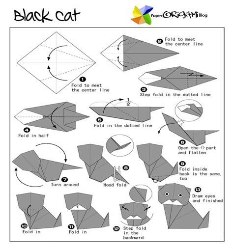 Origami Black Cat - animals origami black cat paper origami guide